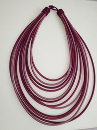 12 Strand silk layered necklace - Purple and pink mix