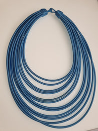 12 Strand silk layered necklace - Light blue