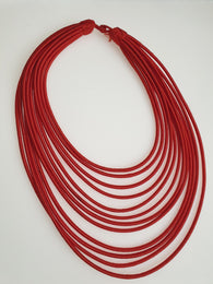 12 Strand silk layered necklace - Burnt Orange