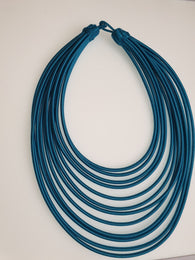 12 Strand silk layered necklace - teal blue