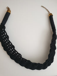 Leather and straw choker necklace