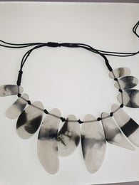 Black and white geometric resin statement necklace