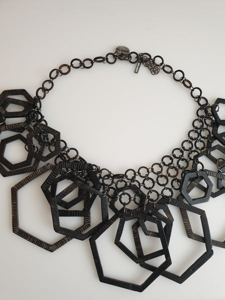 Brown geometric large statement necklace