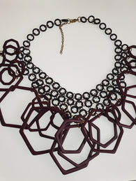 Purple geometric large statement necklace