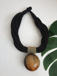 Rope necklace - engraved horn replica