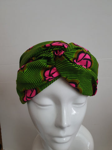 Green and pink Wide African print turban style headband