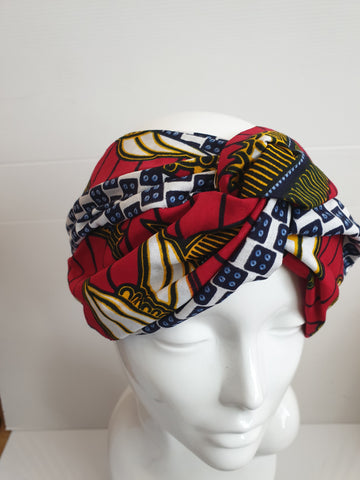 Red mixed Wide African print turban style headband