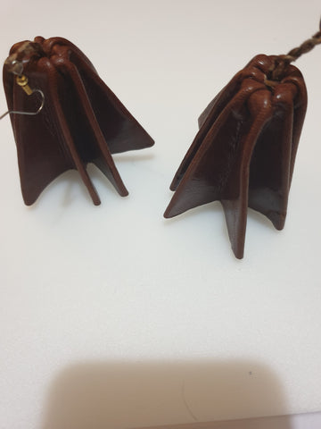 Leather statement parachute style earrings - brown