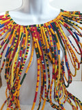 African Multi Strand - Handmade Cape Necklaces (black, blue, yellow and red)