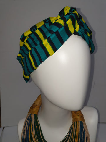 Green and yellow African print turban style headband