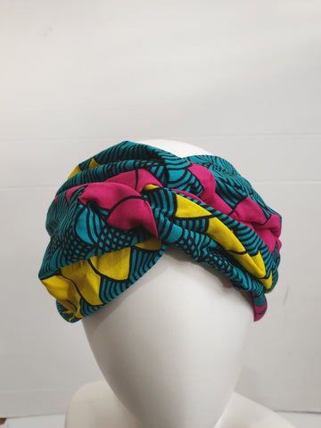 Green, pink and yellow- Wide African print turban style headband