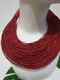 Red leather layered statement necklace - medium thickness