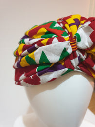 African print head turban - kente - Small-Medium