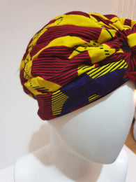 African print head turban - red and yellow - Small-Medium