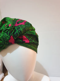 African print head turban - green and pink - Small-Medium