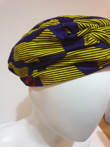 African print head turban - yellow and purple - Medium