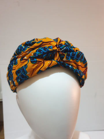 African print head turban - orange and blue - Medium