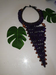 Purple large statement rosewood necklace