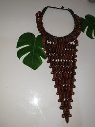 Brown large statement rosewood necklace