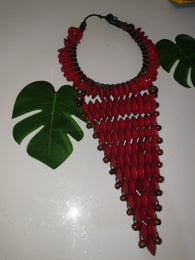 Deep red large statement rosewood necklace