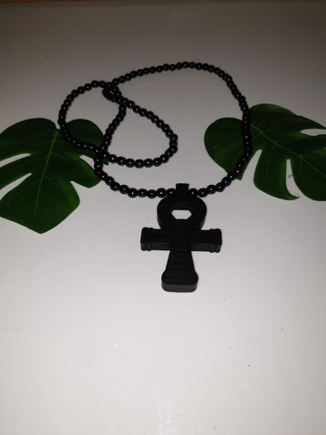 Thick wooden ankh bead necklace