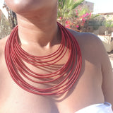 12 strand - berguandy silk rope layered statement necklace