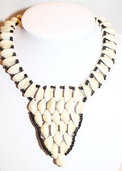 Cowrie bead bib statement necklace