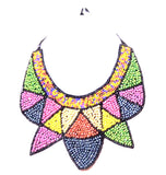 Colourful bead bib necklace
