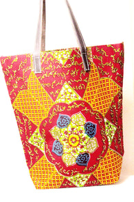 Ankara African print tote bag in red, orange and green