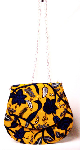 Ankara handbag in yellow and blue print