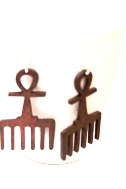 African Ankh wooden earrings