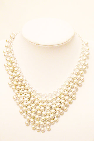 Silver ball bib statement necklace