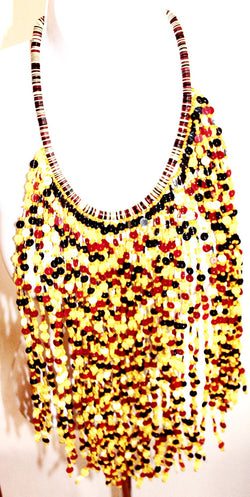 Yellow and brown bead layered bib handmade statement necklace