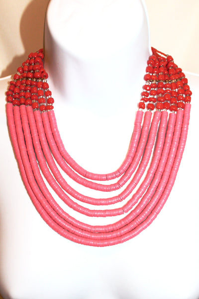 Pink bead handmade statement necklace