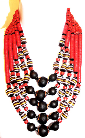 Red bead african statement necklace set