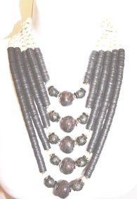 Handmade brown statement bead necklace set