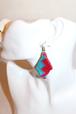 Blue and red kente earrings