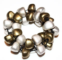 Handmade silver and gold bead statement bracelet