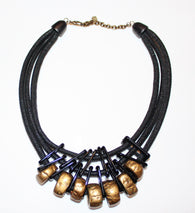 Black and gold statement rope necklace