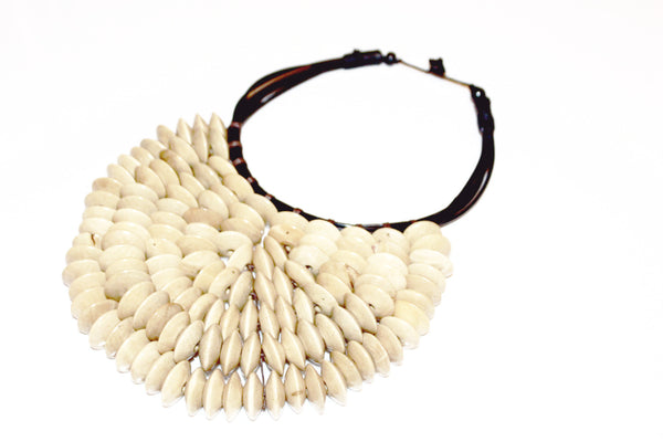 Handmade large wooden statement necklace