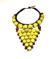 Green wooden statement necklace