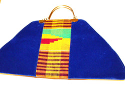 Handmade kente and velvet handbag
