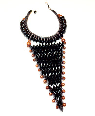 Black large statement rosewood necklace