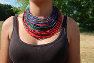 Multi-coloured leather layered statement necklace