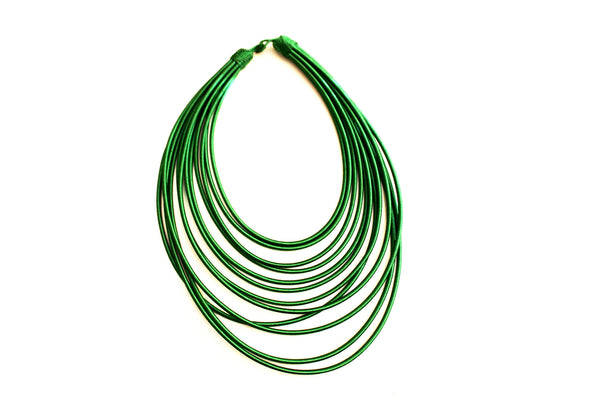 Green rope layered statement necklace