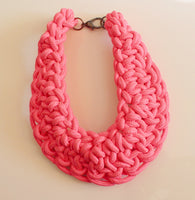 Pink chunky twisted rope statement choker necklace