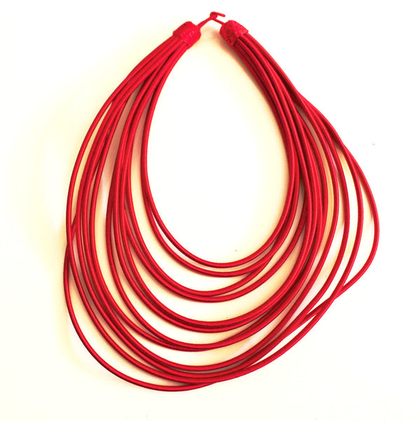 Red layered rope necklace