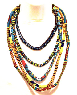 African fabric kente Ankara - African Necklace - African Jewellery - Multi five layered Necklace