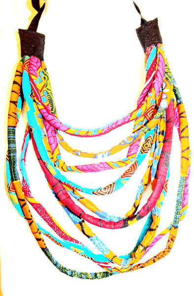 African fabric kente Ankara - African Necklace - African Jewellery - Multi 10 layered Mid Necklace