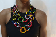 Circular African fabric  - Multi layered circular statement necklace